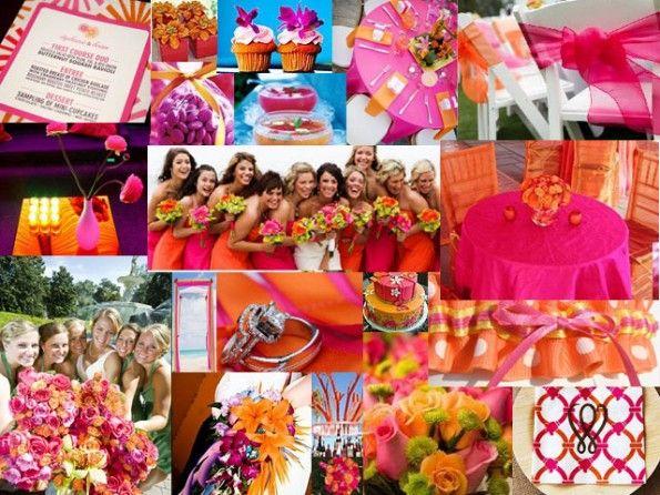 pink and orange.  #mariage #fuchsia et #orange sur notre site web: http://www.feezia.com/univers/themes/mariages-et-baptemes/mariage-fuchsia-orange.html