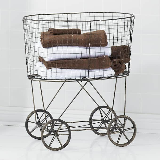 Vintage Style Rolling Laundry Cart With Images Vintage Laundry