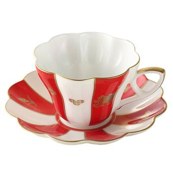 Royal England Bone China Ceramic 2-Piece Chinese Auspicious Patterns Tea Cup Coffee Cup,Brave Troops,Magpie,Paddy,Red