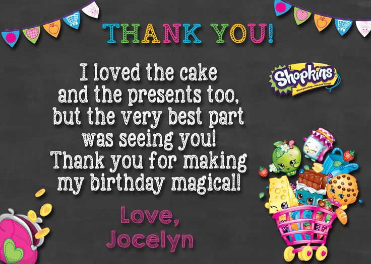 Shopkins Birthday Thank you card $4.50 available at www.partyexpressinvitations.com