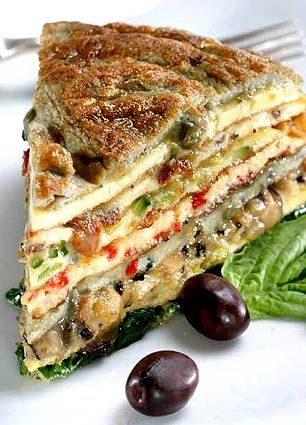 Crespéou is a gateau d'omelettes, a savory omelet cake from Provence