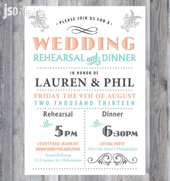 Vintage Rehearsal Dinner Invitation, Mint and Peach / DIY Printable - Not my style, but I do love an invite with ALL the info for the rehearsal and dinner in one place.