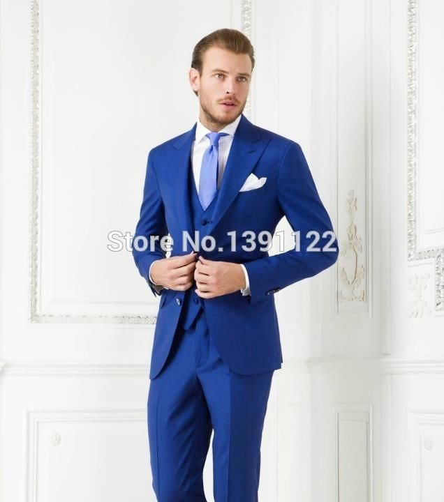 Cheap Custom Made Royal Blue Two Button Tuxedos Men S