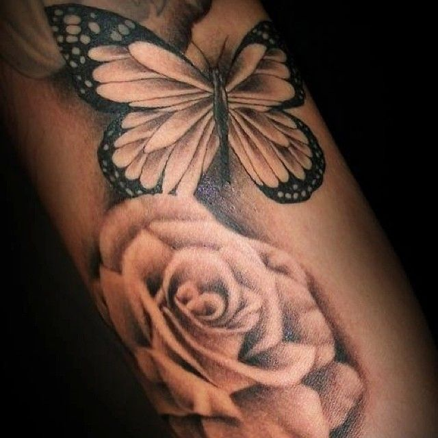 #tattoo #rose #butterfly