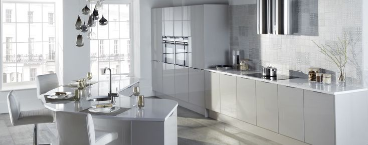 The Otto gloss kitchen, shown here in cashmere, is available online from Units Online
