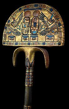 Ceremonial ostrich fan from tomb of Tutankhamun. located Egyptian Museum, Cairo.