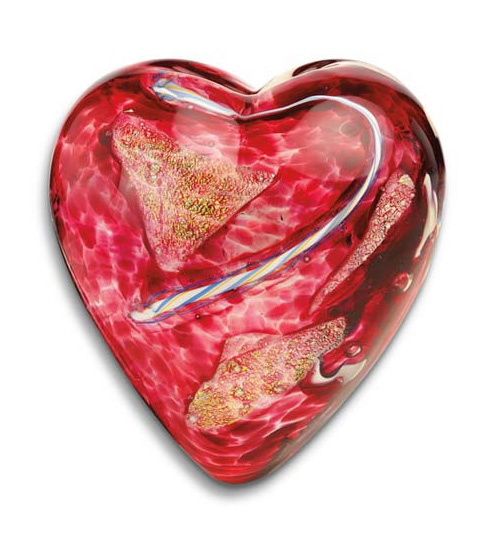 Limited Edition Blown Glass Heart Paperweight :: Island Art Glass