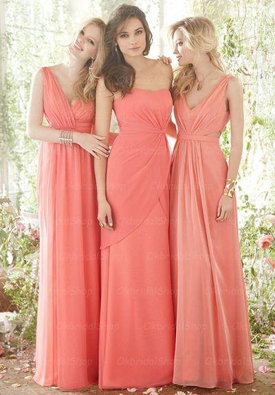 mismatched bridesmaid dresses, coral bridesmaid dresses, chiffon bridesmaid dresses, long bridesmaid dresses, 16302