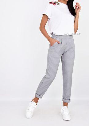 542d8e984ee55 Pantalon gris clair rayé longueur cheville   collage pants   Fashion ...
