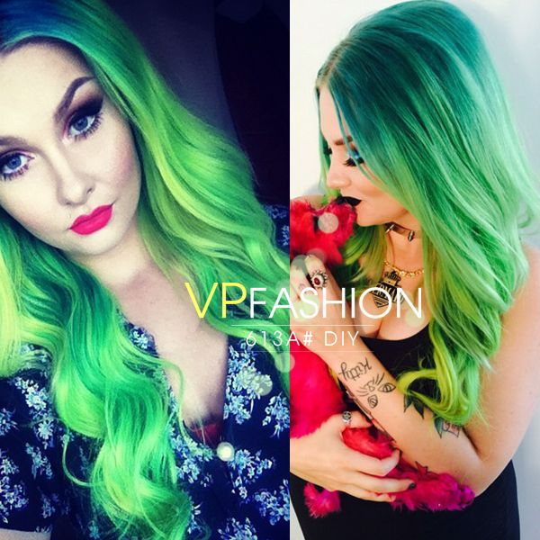 58 best all shades of green hair images on pinterest colorful diy dye your hair with white blonde indian remy clip in hair extensions ds613a pmusecretfo Image collections