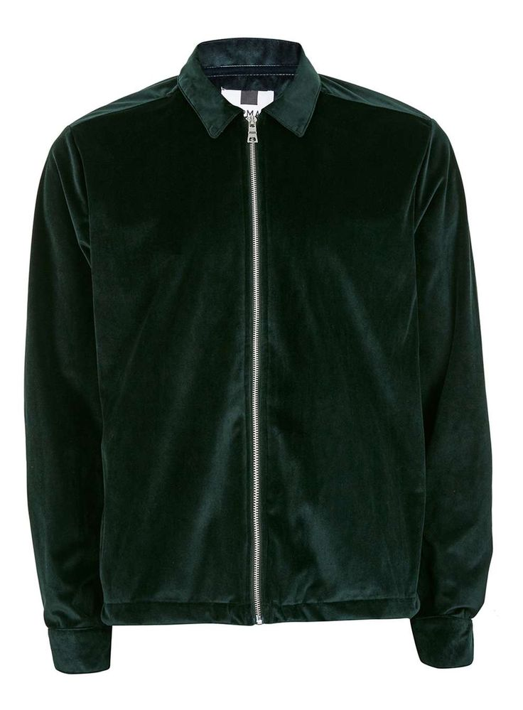 Green Velvet Zip Through Overshirt - Men's Shirts - Clothing - TOPMAN EUROPE