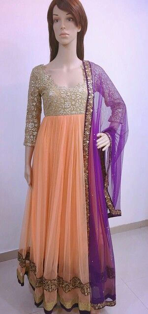 Peach n gold embroidered floor length anarkali with purple dupatta