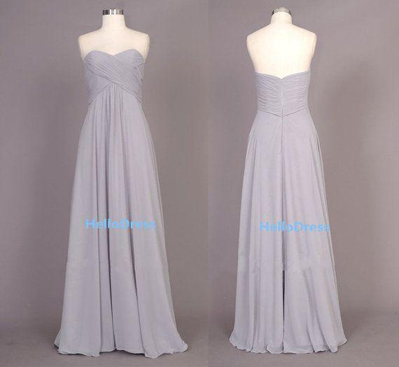 Long Sweetheart Silver/Light Grey Chiffon Bridesmaid by HelloDress, $90.00