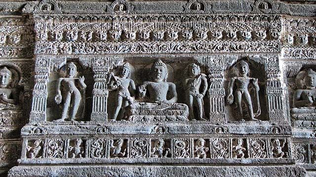 The Ajanta Caves in India are 29 rock-cut cave monuments which date from the 2nd century BCE.