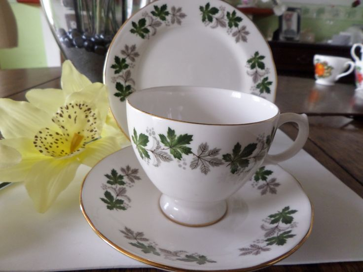 china trio,  Gainsborough china,  green and grey leaves, cup, saucer, plate, English bone china, Staffordshire china, teatime china, by MaddisonsRainbow on Etsy