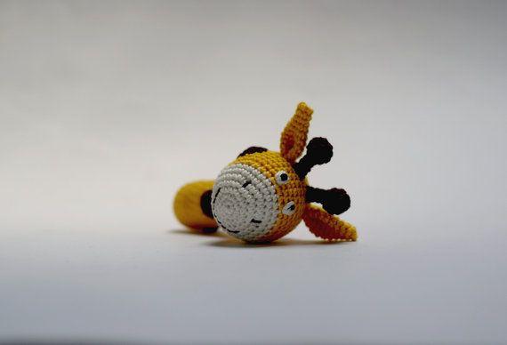 Crochet Giraffe Baby Rattle Rattling baby toy by YarnBallStories