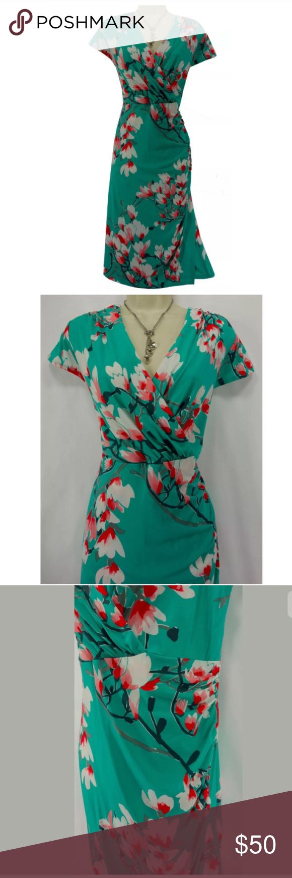Selling this 14W 1X AQUA/CORAL FLORAL RUCHED DRESS Plus Size on Poshmark! My username is: sexycurvygirls. #shopmycloset #poshmark #fashion #shopping #style #forsale #Roz & Ali #Dresses & Skirts