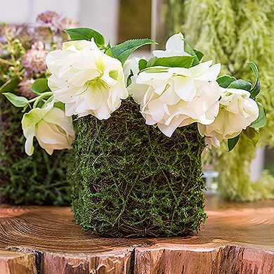 Faux Moss and Wicker Mini Favor Planter with Liner Wedding Favor