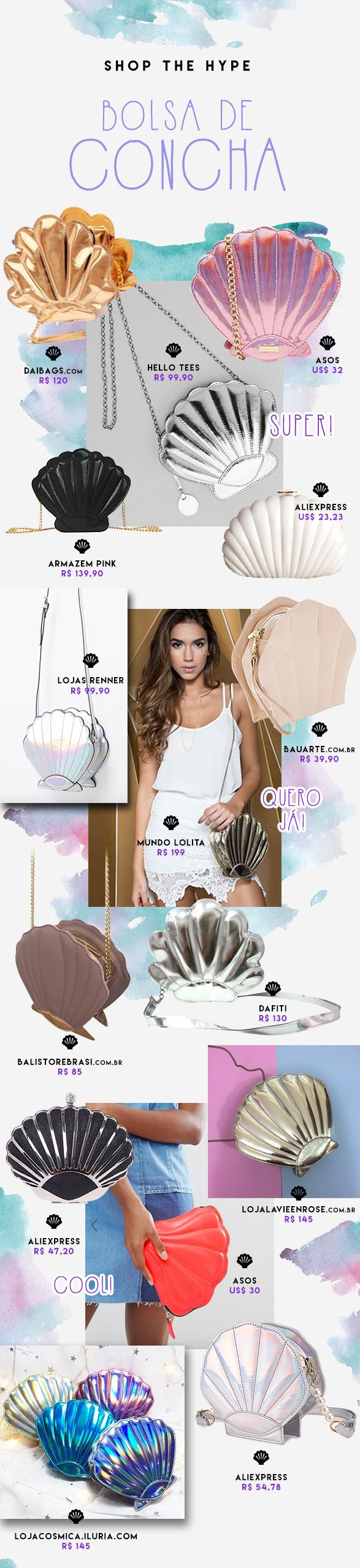Bolsas de conchas estão super trending nesse verão! Inspire-se e monte seus looks