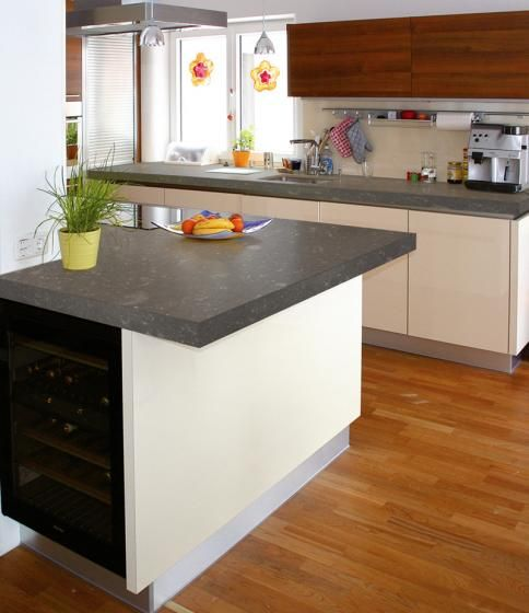 Kitchen Cabinet Granite: Nuit Bleue Silestone With White Cabinets And Carmel Flooring