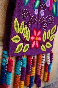 Threads of Hope aubergine table runner. www.threadsofhopetextiles.org