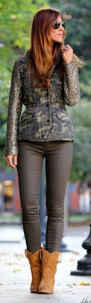 Army Green Camo Contrast Sleeve Jacket by Like A Princess Like.... Kuka