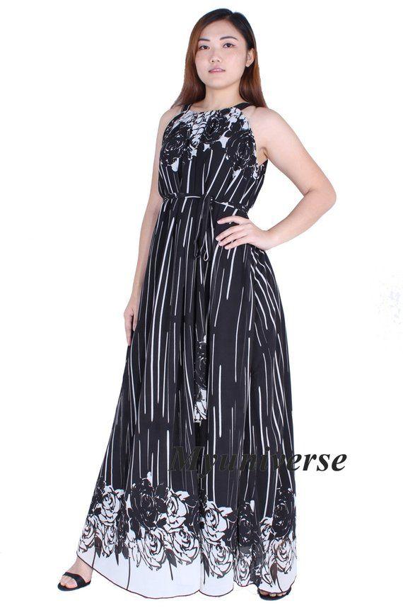 Black White Floral Plus Size Maxi Dresses