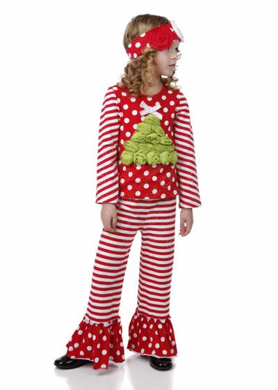 FALLIDAY ROSETTE TREE APPLIQUE PANT SET by One Posh Kid #holiday2014