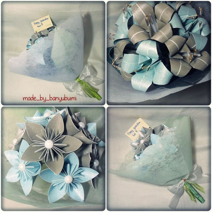 Lily origami bouquet & kusudama flowers origami bouquet | Blue & silver paper | Instagram @made_by_banyubumi | #origami #paperfolding #origamiflower #bouquet #flower #handmade #DIY #origamiwork