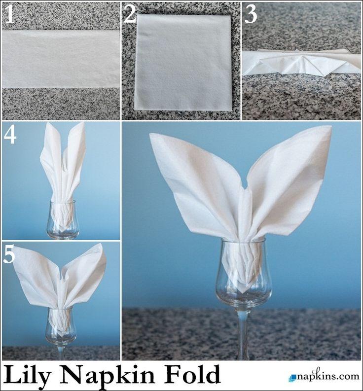 Lily Napkin Fold How To Fold A Napkin Pinterest