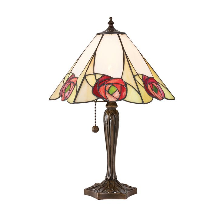 Ingram 64184 Tiffany Medium Table Lamp Style Glass Bronze Paint Effect The Collection Features A Macintosh Art Deco Rose