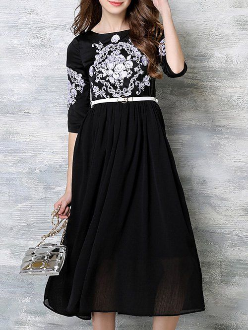 Embroidery High Waist Belted Dress