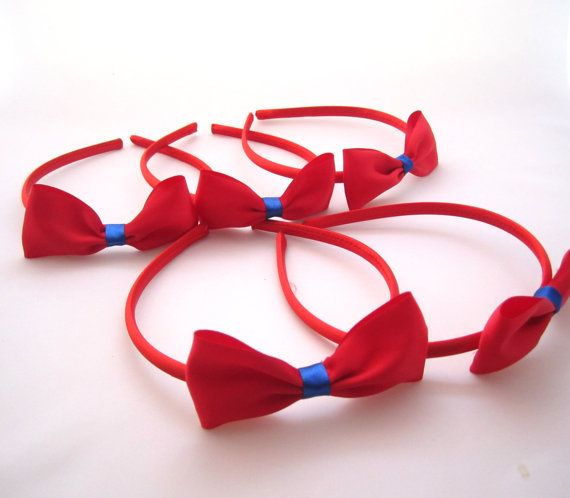 Set of 5 - Red Headbands With Red Satin Bows -Snow White Party Favors on Etsy, $12.00