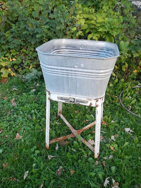 Vintage Galvanized Steel Metal Wash Tub Sink By