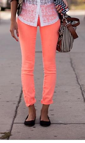 Neon coral pants