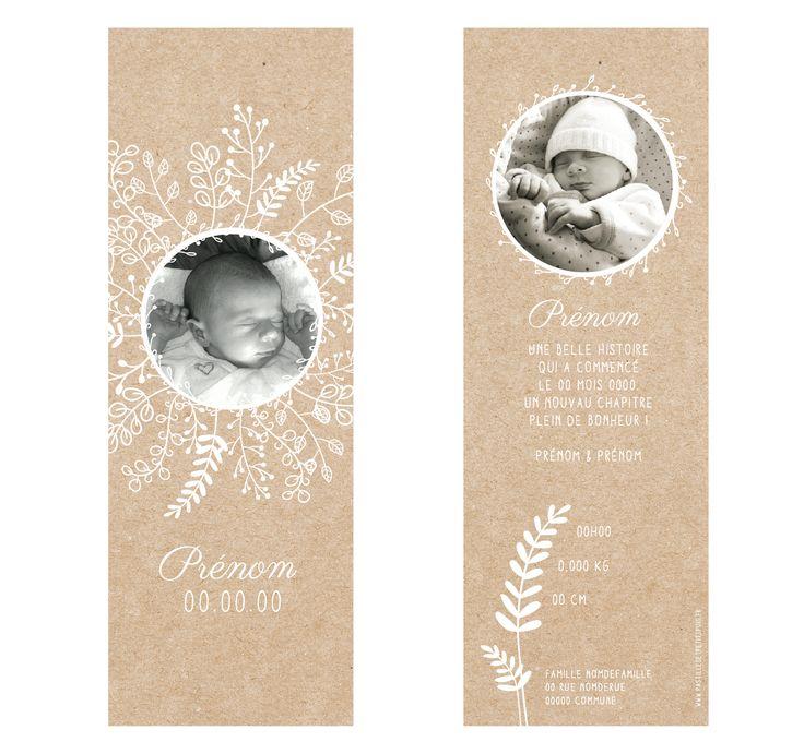 faire-part bébé naissance kraft beige papier recyclé nantes, personnalisable sur pastillesetpetitspois.fr