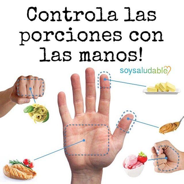 1⃣ Un puño cerrado equivale a aproximadamente UNA TAZA. 2⃣ Lo que quepa en tu mano abierta (1/2 TAZA). 3⃣ Una porción de carne debe ser casi tan grande como la palma de tu mano extendida sin incluir los dedos (100 gramos o 3,5 onzas) 4⃣ El extremo superior de tu pulgar o índice equivale a 15 gramos o 1 cucharadita.