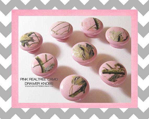 Pink Realtree Hardwoods Camo Drawer Knobs by FunkyLetterBoutique, $8.50 Www.Antlertrader.Com