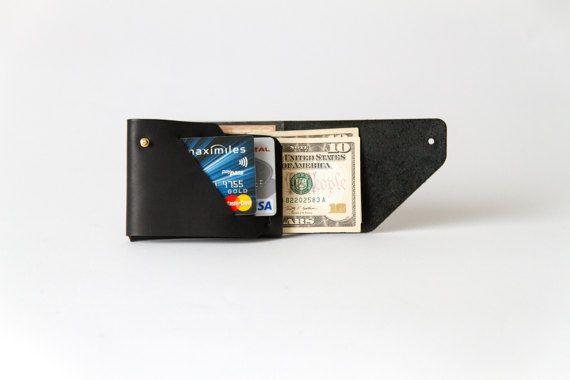 Mone'Fold Seamless Leather Wallet - Black Color - Minimalist Folded - Genuine Leather