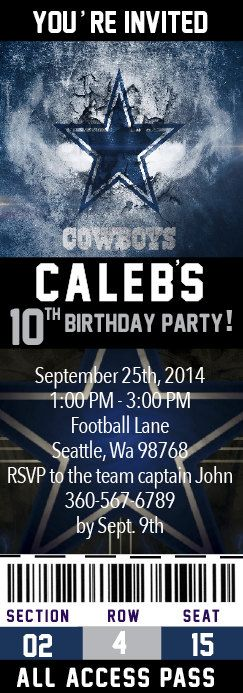 Dallas Cowboy Dallas Cowboy Birthday Invitation by Onthegoprints