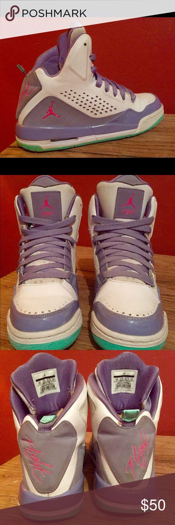 Air Jordan Flight Shoes - Size 6Y Air Jordan Flight Shoes - Size 6Y - Purple, gray, hot pink, light teal - see pictures! Super cute & great condition ♥️ Air Jordan Shoes Athletic Shoes