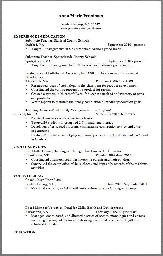 School Resume Examples 2017 Anna Marie Penniman Fredericksburg, VA - substitute teaching resume