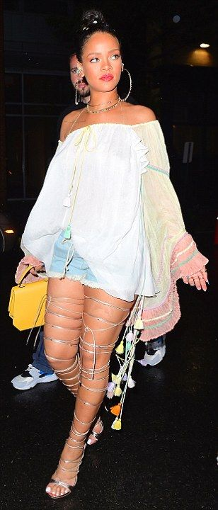 Rihanna shows legs as she rocks look at 1Oak nightclub party in NYC