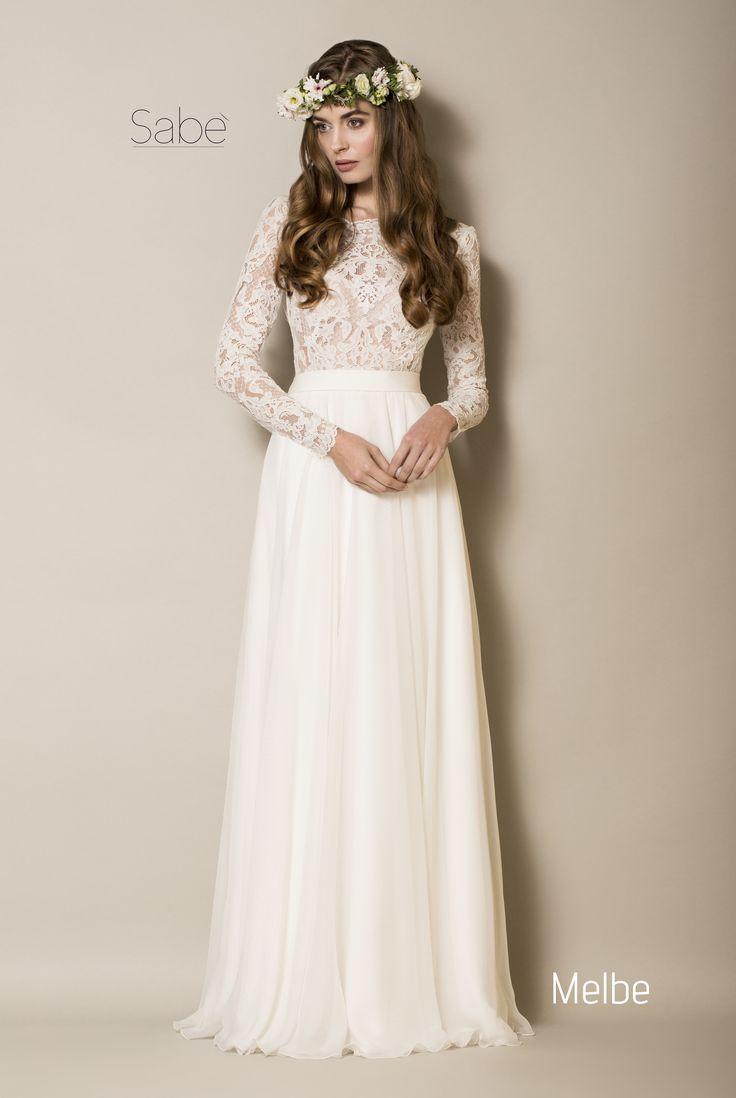 suknia ślubna boho zwiewna 2016 Sabe długi rękaw romantyczna koronka