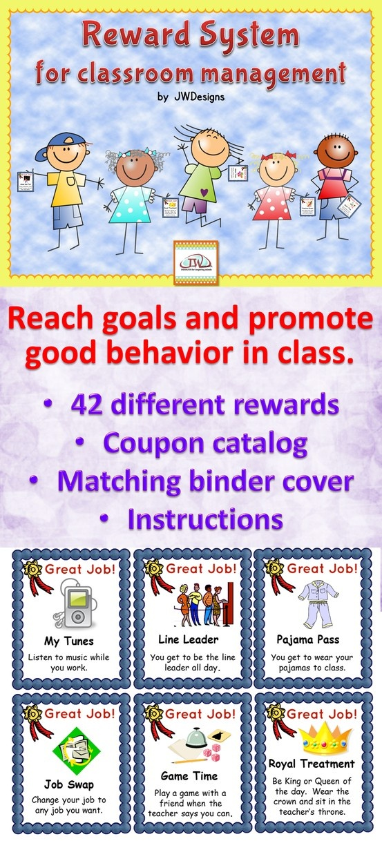 Reward system for classroom management is a great tool to inspire your students to reach their goals and have good behavior.  Kiddos love being able to shop in the coupon catalog and choose their own reward.  It's one of my best Teacher Pay Teacher items, because it works!