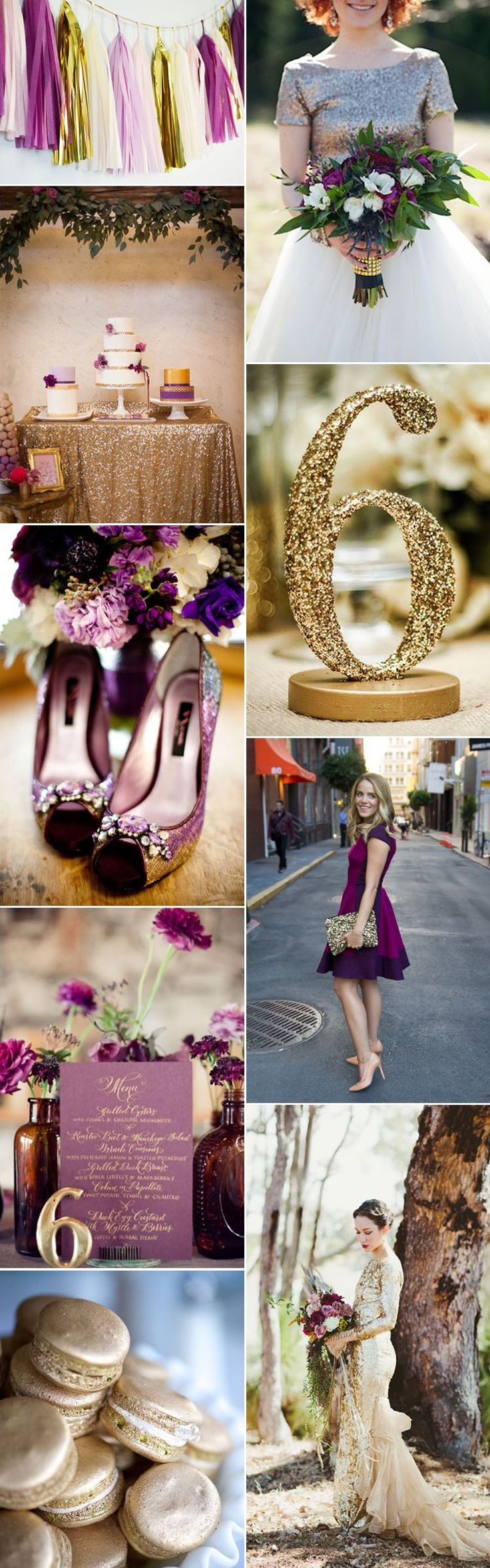 Rich, opulent and a dream color combination for autumn or winter. Here are some gorgeous wedding ideas incorporating plum and gold