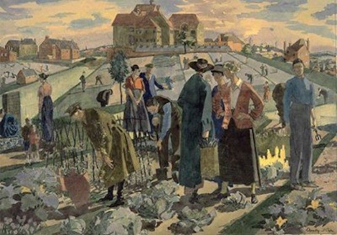 """War Allotments in a London Suburb"" by Dorothy Coke, 1918"