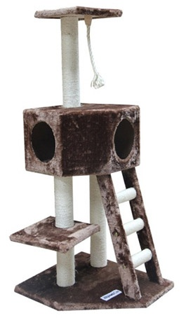 "Cat Clawing Furniture Gym  Overall size 21"" L x 25"" W x 49"" H  Covering material Soft Plush Fabric (Faux Fur)  Color Brown  Board material 3/4"" strong particle board  Base 21"" x 25""  One condo 14"" x 14""  Top perch 12"" x 12""  The fabric is attached to the board by adhesive instead of staples. This keeps the fabric tighter to reduce pulling by cats  Scratching posts are covered in Sisal Rope that can endure a lot of scratching"