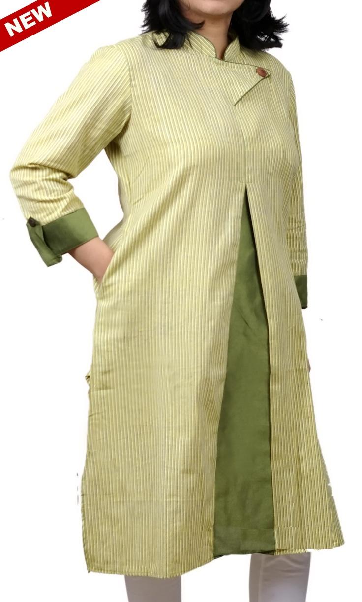 Women Corporate Kurtas,Indian Concepts ,Classic Box Pleat Trendy Yoke Stripped Cotton Corporate K...