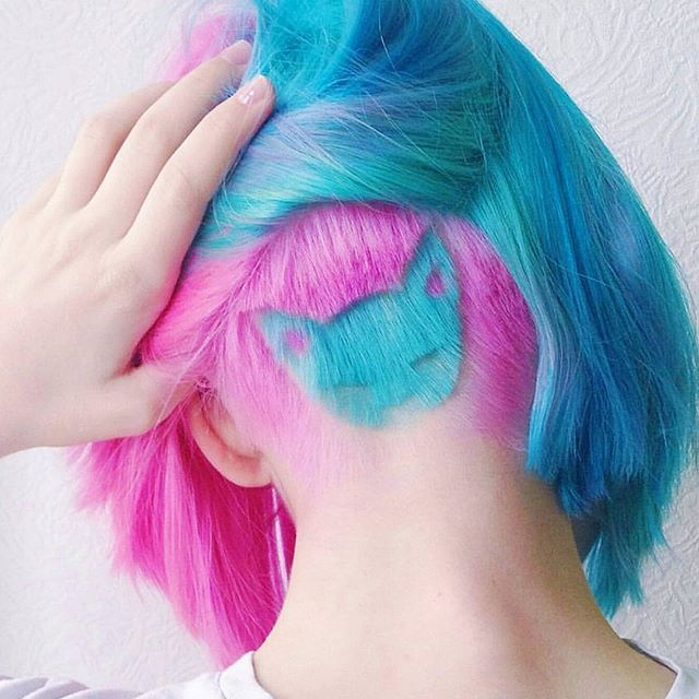 Follow @dyed_hairstyles  actually obsessed with this look!  it makes me want pink and blue hair very bad lol